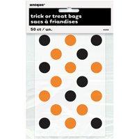 Small Plastic Orange & Black Polka Dot Halloween Candy Bags, 50ct