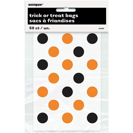 Halloween Paper Candy Bags (Small Plastic Orange & Black Polka Dot Halloween Candy Bags,)