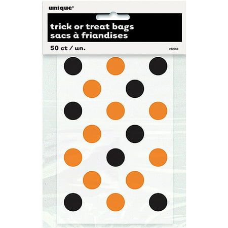 Polka Dot Halloween Favor Bags, 6 x 4 in, Orange and Black, 50ct