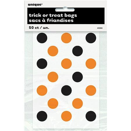 Polka Dot Halloween Favor Bags, 6 x 4 in, Orange and Black, - Dollar Tree Halloween Bags