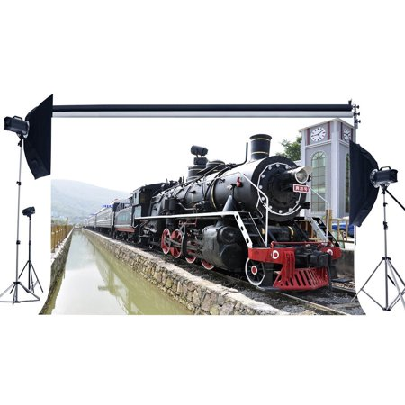 Background Tracks (GreenDecor Polyster 7x5ft Photography Backdrop Locomotive Vintage Old Steam Train Railrod Tracks Nature Travel Backdrops for Baby Kids Lover Portraits Background Photo Studio)