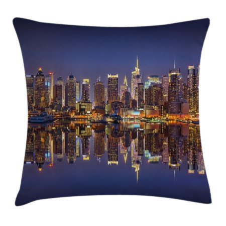 Landscape Throw Pillow Cushion Cover, Cityscape Scenery of New York City at Midnight Usa Ocean Reflection Coast Photo, Decorative Square Accent Pillow Case, 18 X 18 Inches, Multicolor, by Ambesonne ()