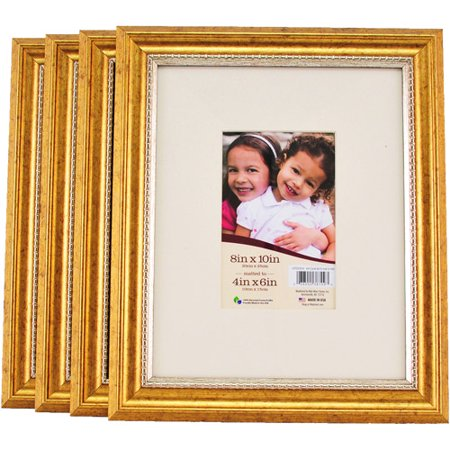 8x10 matted gold picture frames set of 4