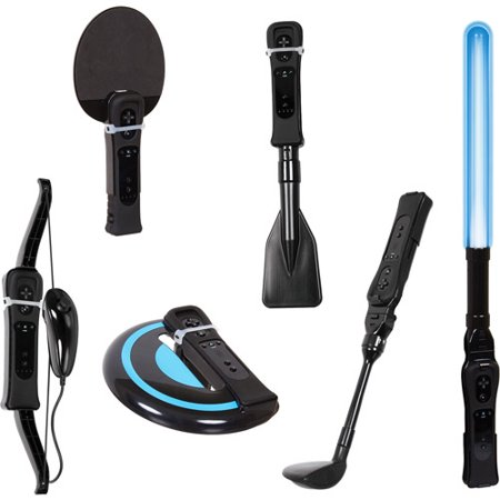 DreamGEAR Ultimate Bundle Wii Sports  - Includes Rowing Oar, Archery Bow, Frisbee, Golf Driver, Glow Saber,  Table Tennis Paddle - Glow In The Dark Golf Course