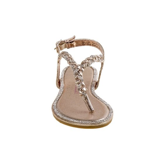 6d213ffff7c90a Girls Gold Glitter Braided Thong Strap Buckle Sandals - Walmart.com