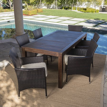 Taft Outdoor 7 Piece Dining Set with Wood Table and Wicker Chairs with Water Resistant Cushions, Beige ()