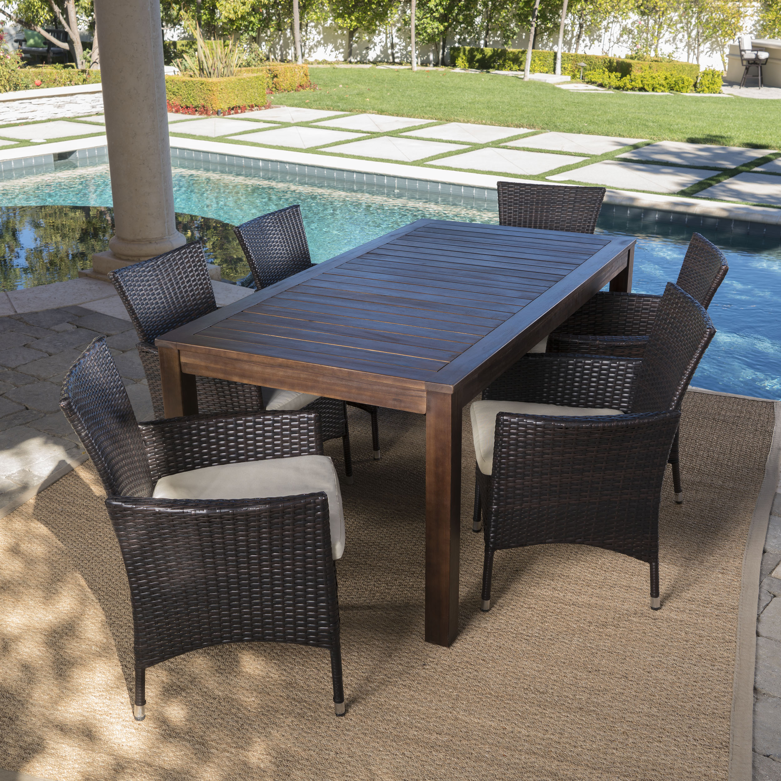 Taft Outdoor 7 Piece Dining Set with Wood Table and Wicker Chairs with Water Resistant Cushions, Beige