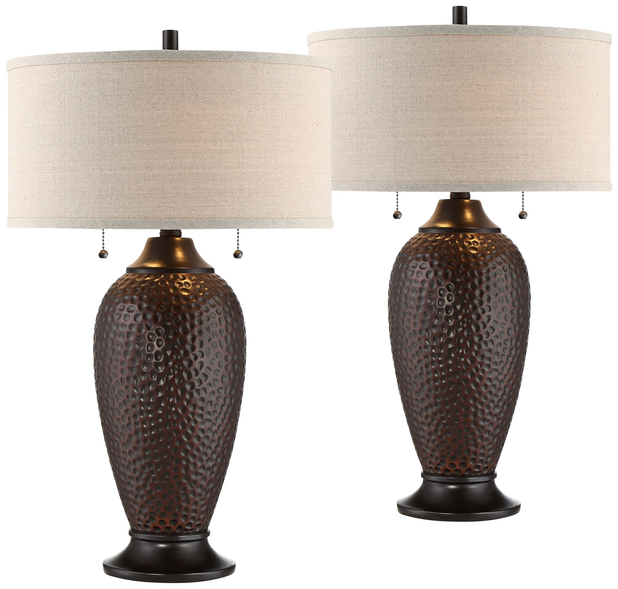 360 Lighting Modern Table Lamps Set of 2 Hammered Oiled ...