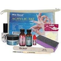 Mia Secret Clear Acrylic Powder Proffesional Full Nail Kit - 9pcs + Free Temporary Body Tatoo!
