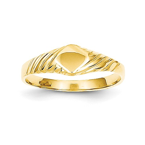 14k Yellow Gold Engravable Child's Fancy Signet Ring