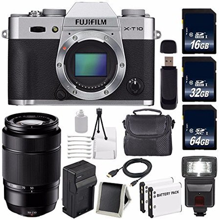 Fujifilm X-T10 Mirrorless Digital Camera (Black Body Only) (International Model) No Warranty + Fujifilm XC 50-230mm f/4.5-6.7 OIS Lens (Black) (International Model) No Warranty