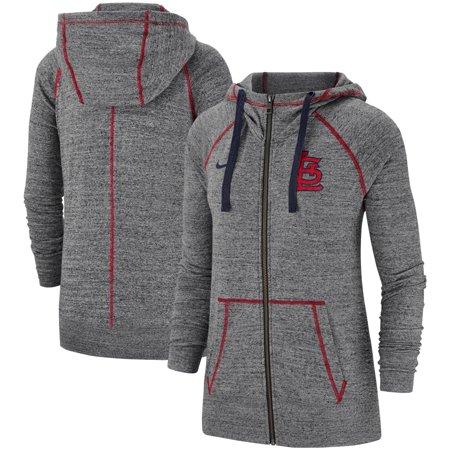 f4e9a483 St. Louis Cardinals Nike Women's Gym Vintage Team Full-Zip Hoodie - Gray