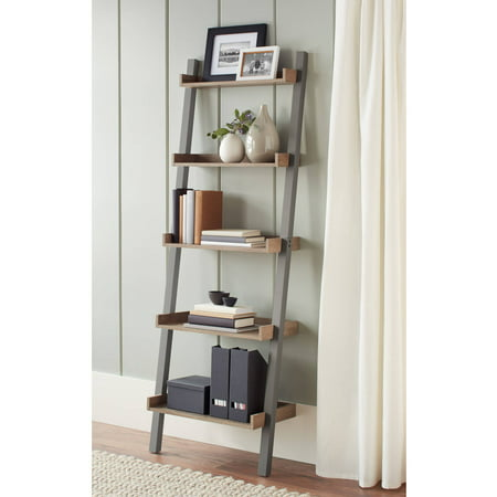 Better Homes and Gardens Bedford 5 Shelf Leaning Bookcase, Gray - Better Homes And Gardens Bedford 5 Shelf Leaning Bookcase, Gray