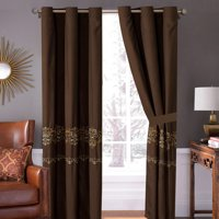 4-Pc Regan Royal Damask Scroll Fleur-de-lis Embroidery Curtain Set Brown Bronze Pewter Drape Sheer Liner