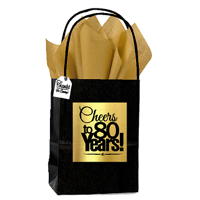 Black & Gold 80th Birthday / Anniversary Cheers Themed Small Party Favor Gift Bags with Tags -12pack