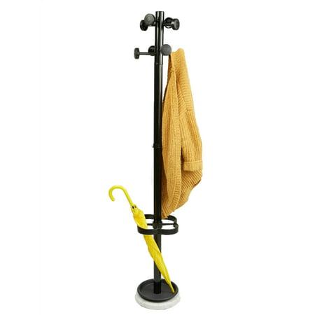 Mind Reader Freestanding Coat Rack Umbrella Holder with 8 Hooks, Black