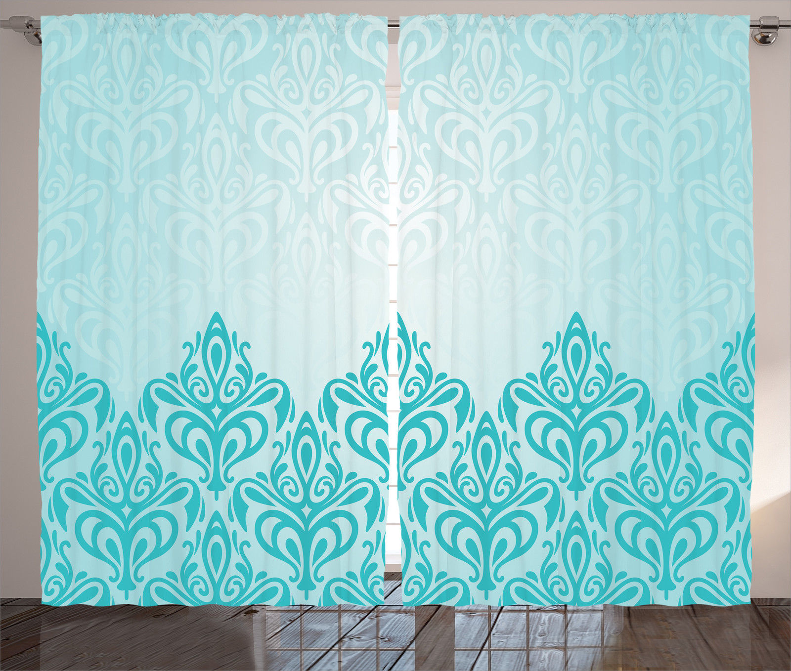 Turquoise Decor Curtains 2 Panels Set, Decorative Retro Medieval European  Victorian Gradient Royal Pale Patterns Part 97