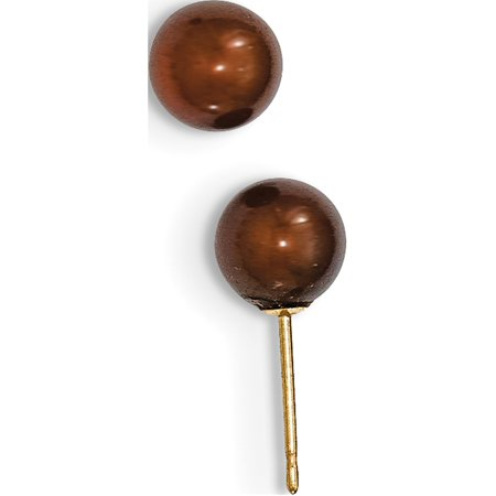 Round Coffee or jaune 14k FW Cultured Pearl Boucles d'oreilles (de 6to7x6to7mm) - image 3 de 3