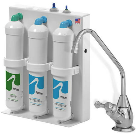 3-Stage Undercounter Drinking Water Filter with Chrome Dispenser