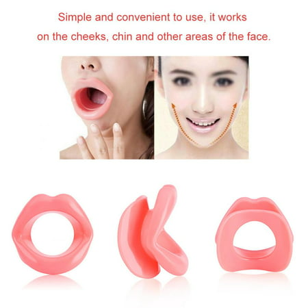 HERCHR 2pcs Silicone Face Slimmer Mouth Tightener Rubber Anti-wrinkle Anti-aging Mouth Muscle Tightener Face Exercise Lips Trainer Face-lift