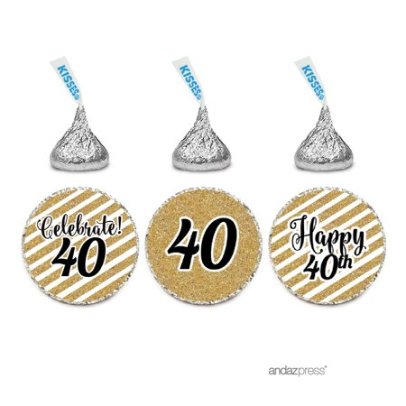 Milestone Chocolate Drop Labels Trio, Fits Hershey's Kisses Party Favors, 40th Birthday, 216-Pack, Not Real Glitter - 40th Birthday Party Ideas For Wife