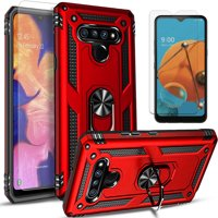 LG K51 phones Case, With [Tempered Glass Screen Protector Included], STARSHOP Drop Protection Ring Kickstand Cover- Red