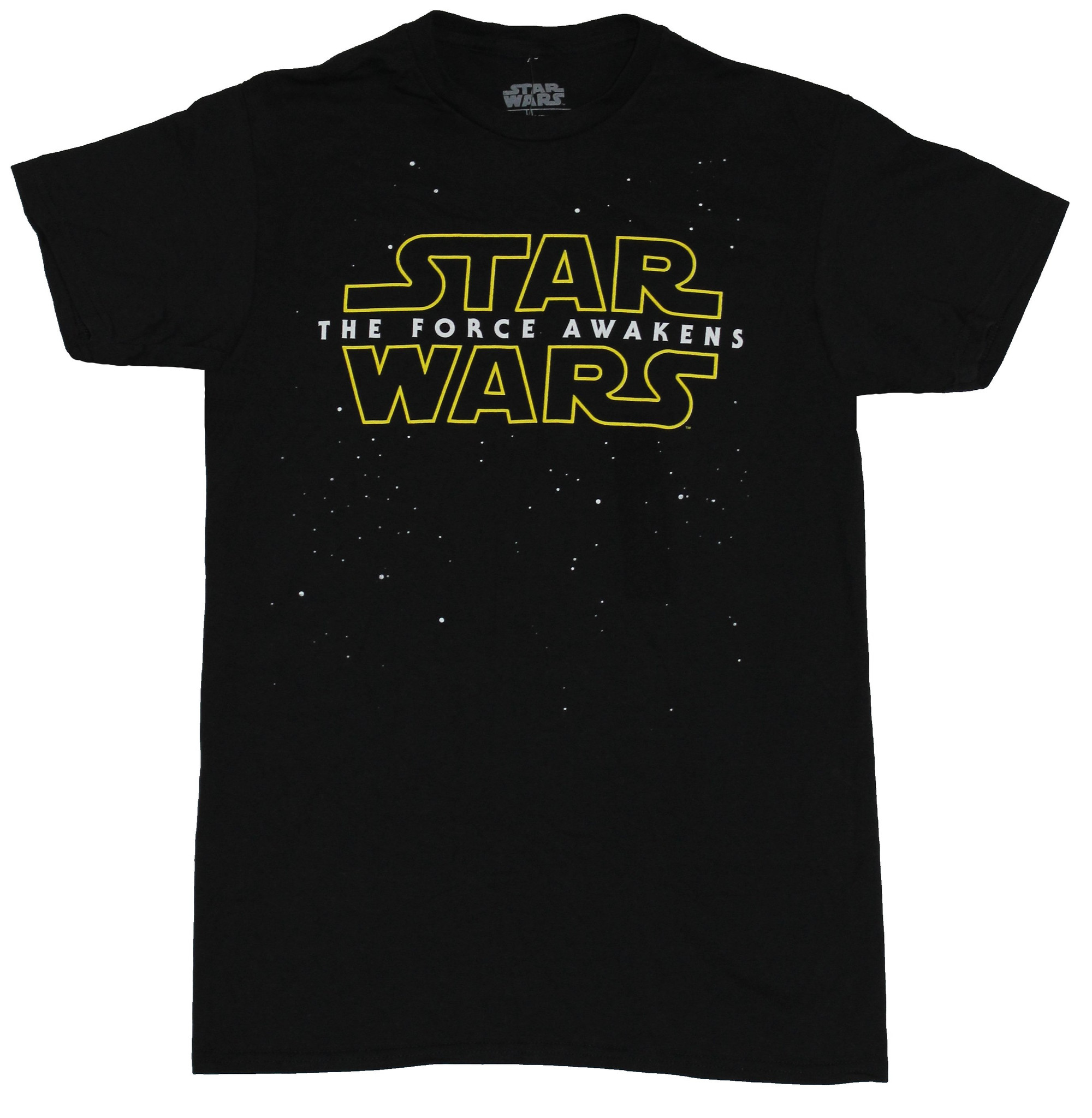 Star Wars Force Awakens Mens T-Shirt - Simple Yellow Lined Logo Image