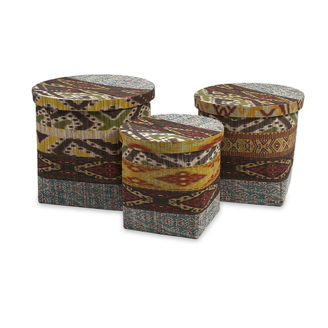 IMAX Corporation 89868-3 Tymon Waterhyacinth Baskets with  Lids - Set of 3