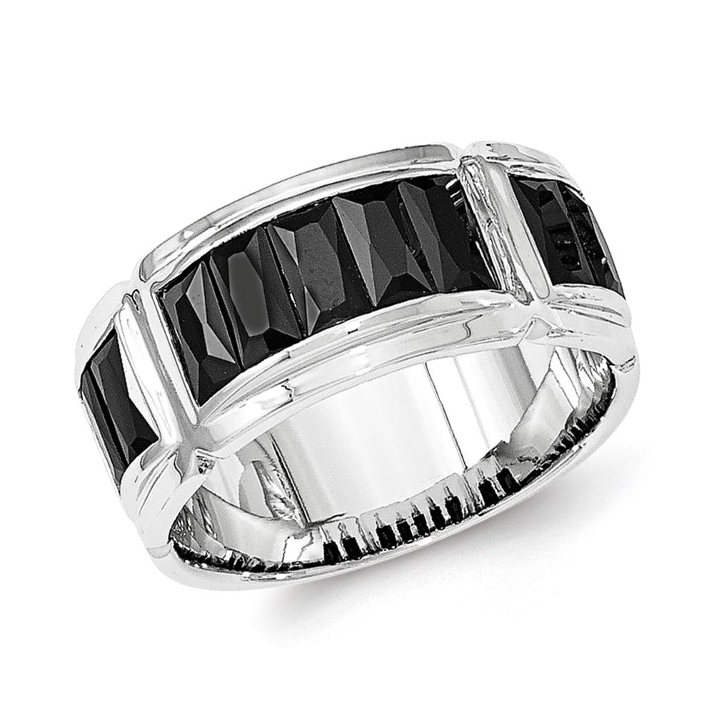 925 Sterling Silver Polished Channel Set Grooved Black CZ Ring Size 9
