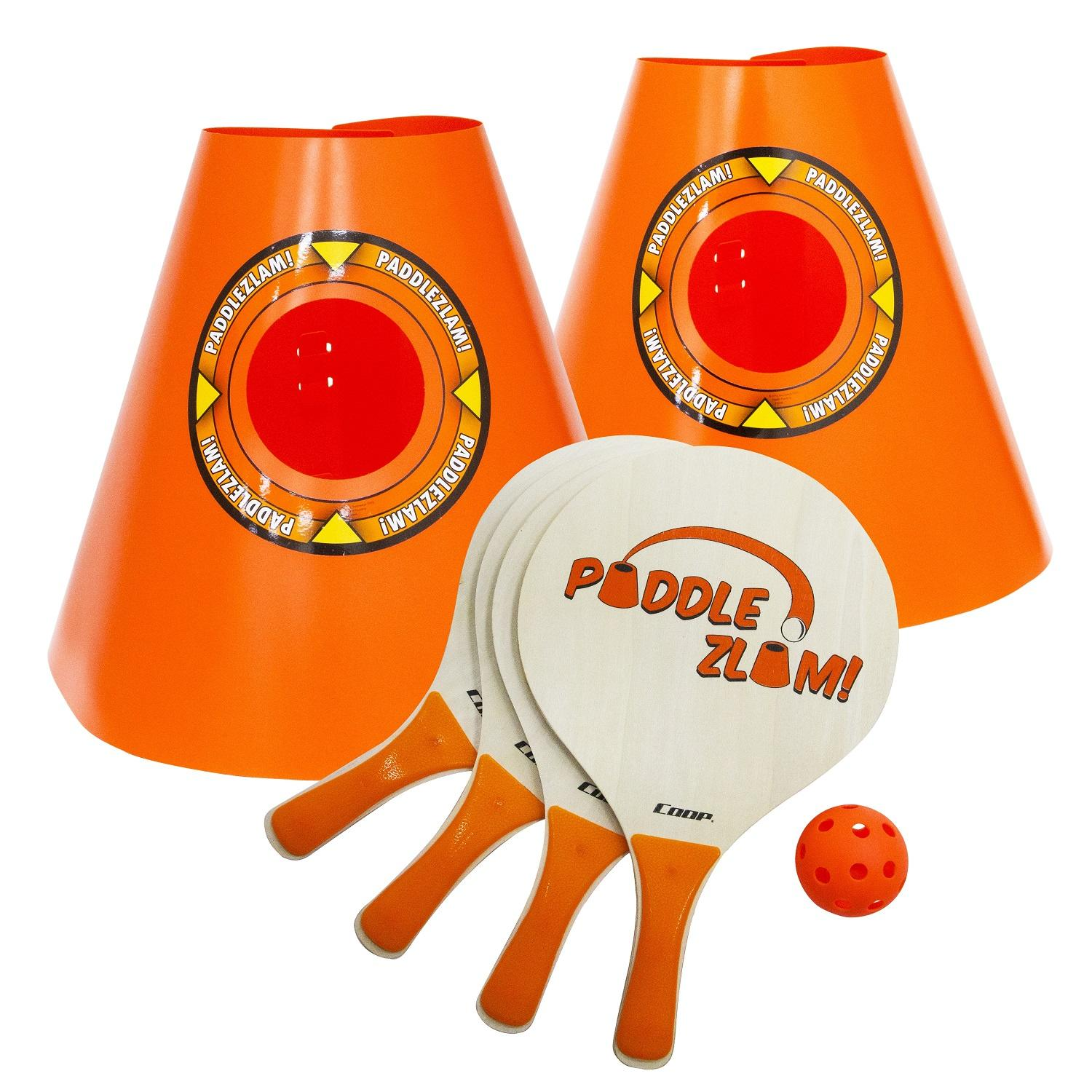 Orange Pickleball Paddle Zlam with Cones Backyard Paddle Ball Game