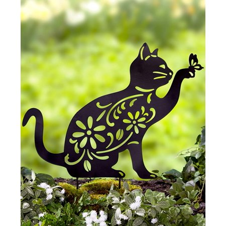 Cat Silhouette Stake for Yards, Gardens ()