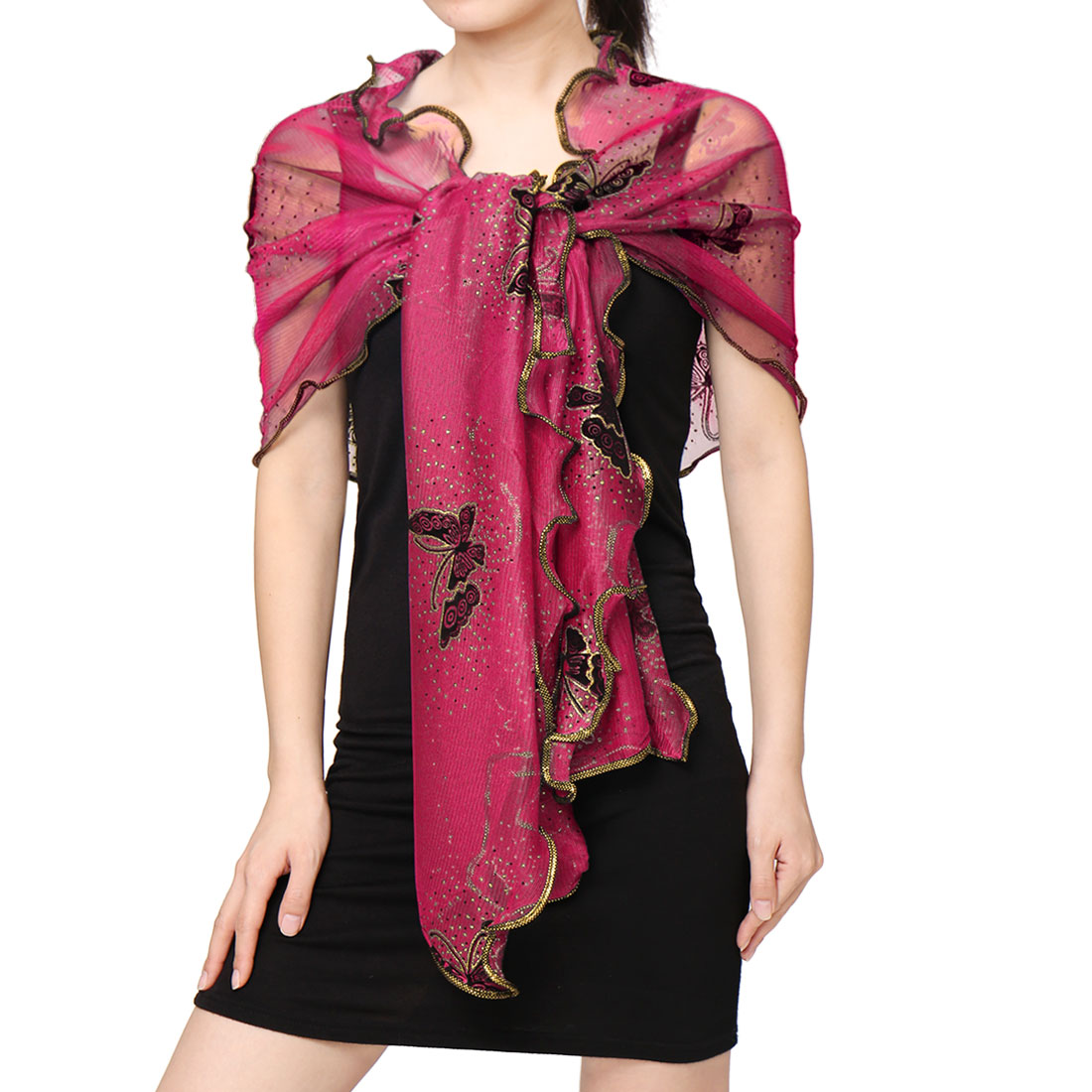 Unique Bargains Women's Ruffled Trim Shiny Butterfly Semi Sheer Rectangular Scarf Pink