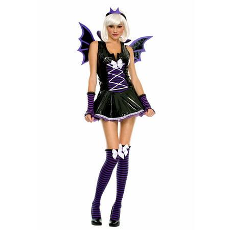 Music Legs Sexy Purple Vinyl Bat Costume Sexy Vinyl Vampire Bat Girl Adult Halloween - Bad Halloween Costume