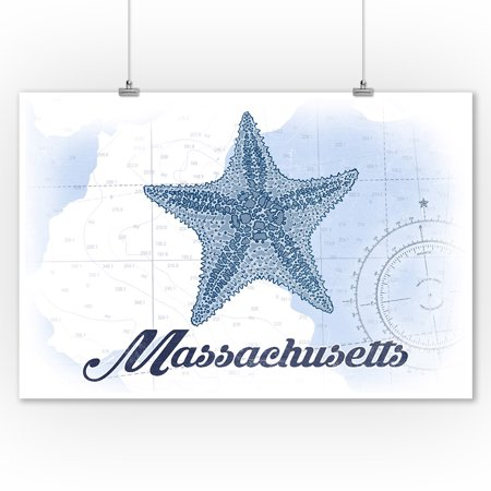 Massachusetts - Starfish - Blue - Coastal Icon - Lantern Press Artwork (9x12 Art Print, Wall Decor Travel Poster)