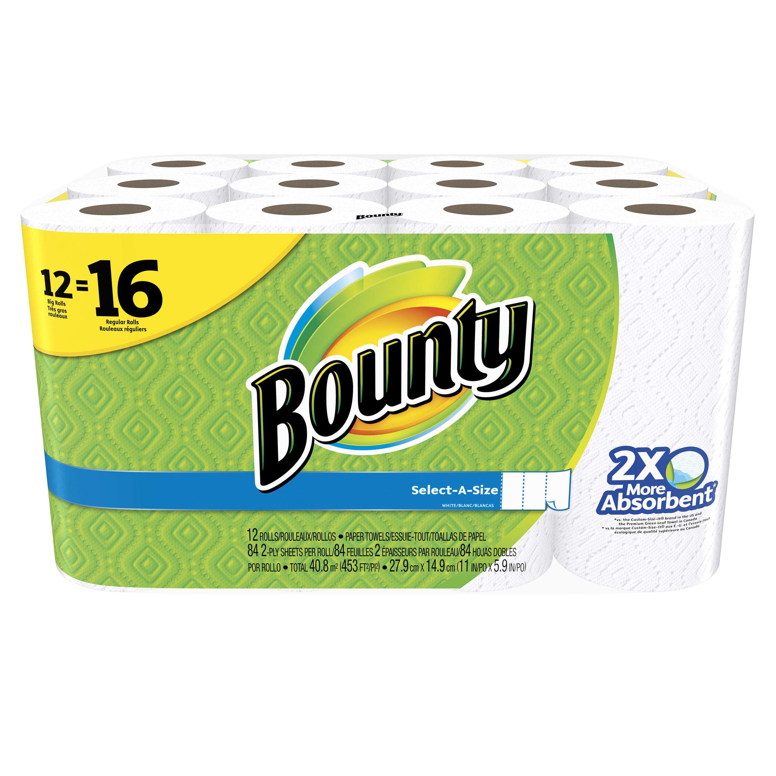 Bounty Select-A-Size Paper Towels, White, 12 Big Rolls = 16 Regular Rolls