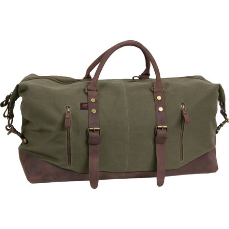 Long Weekend Extended Weekender Travel Leather Accent Denim Lined Canvas Bag