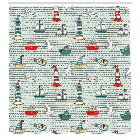 Lighthouse Shower Curtain Seagulls Lighthouses Message Bottles Steamboats Sailboats Wavy Pattern Nautical Fabric Bathroom Set With Hooks Multicolor