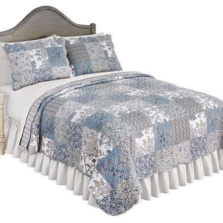 Beautiful Reversible Alice Floral Patchwork Quilt Bedding with Scalloped Edges, Full/Queen, Multi (Patchwork Quilts)