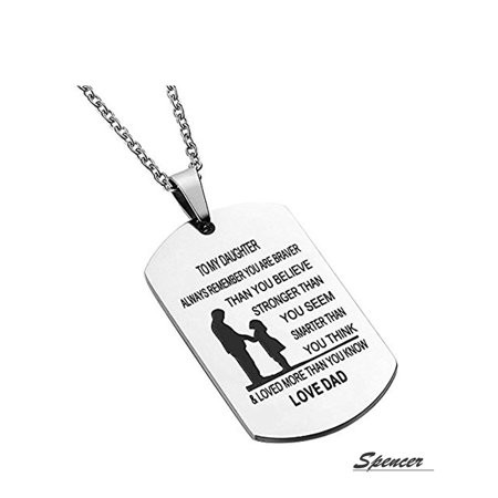 Spencer Metal Alloy To My Daughter From Mum Dad Dog Tag Pendant Necklace Military Jewelry Personalized Dogtags Birthday Gift