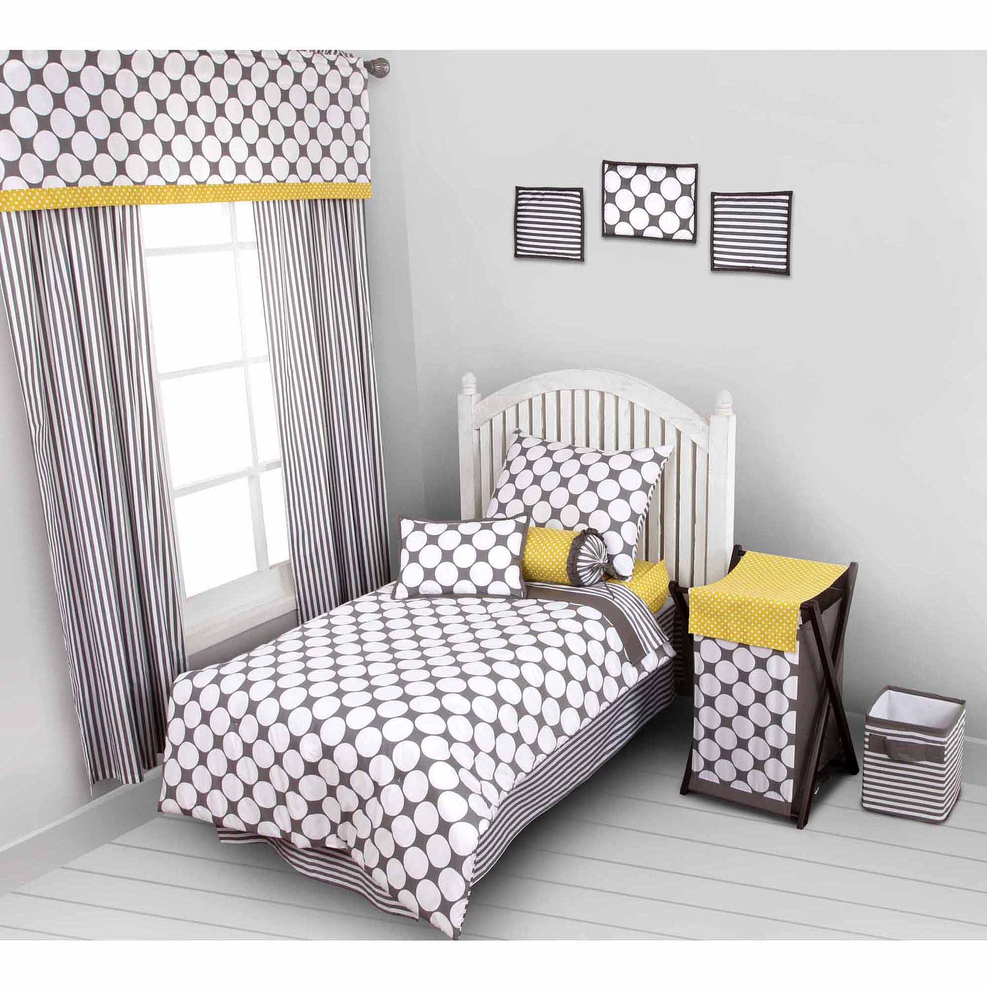 Bacati - Dots/Pin Stripes 4-Piece Toddler Bedding set 100% Cotton percale,  Gray/Yellow