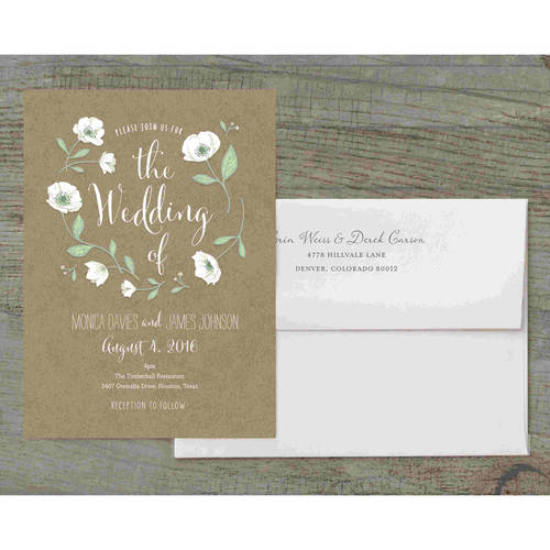Wedding Flowers Deluxe Wedding Invitation