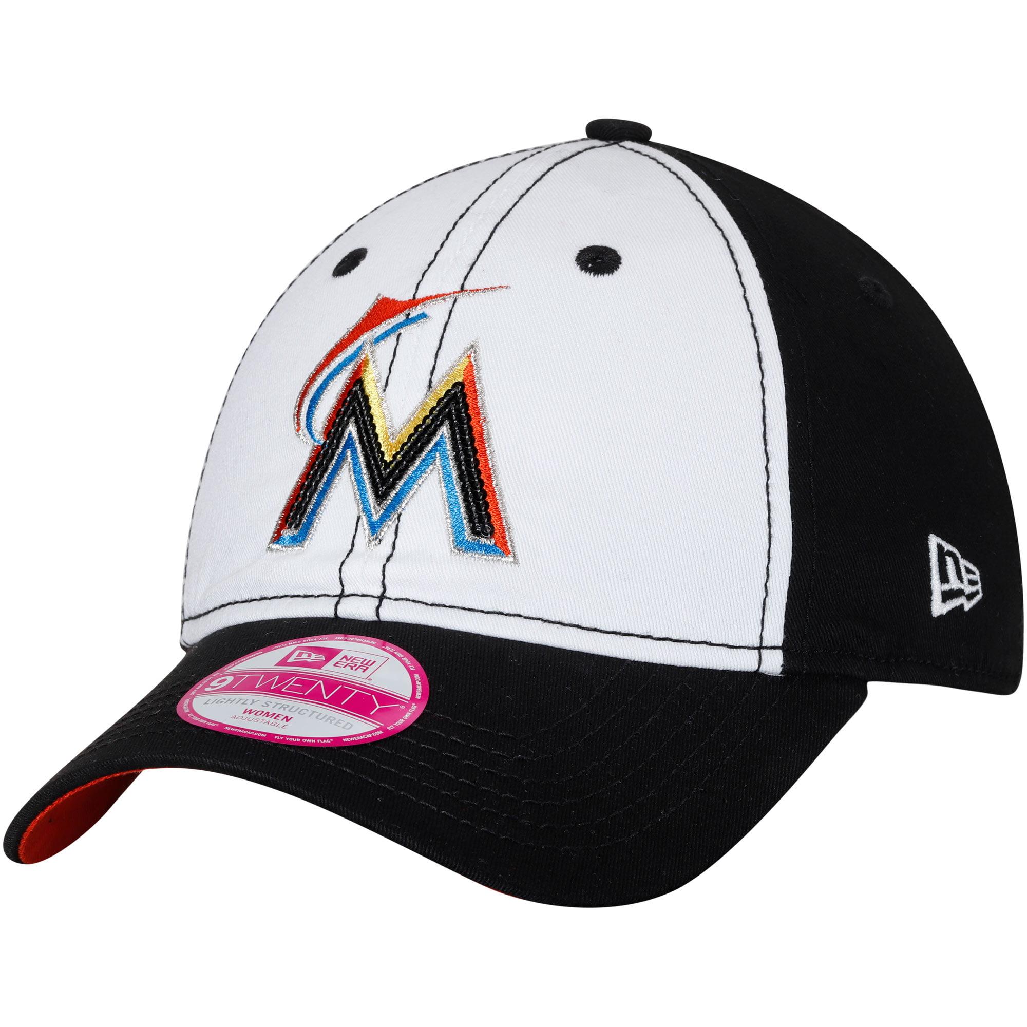 Miami Marlins New Era Women's Team Glimmer 9TWENTY Adjustable Hat - White/Black - OSFA