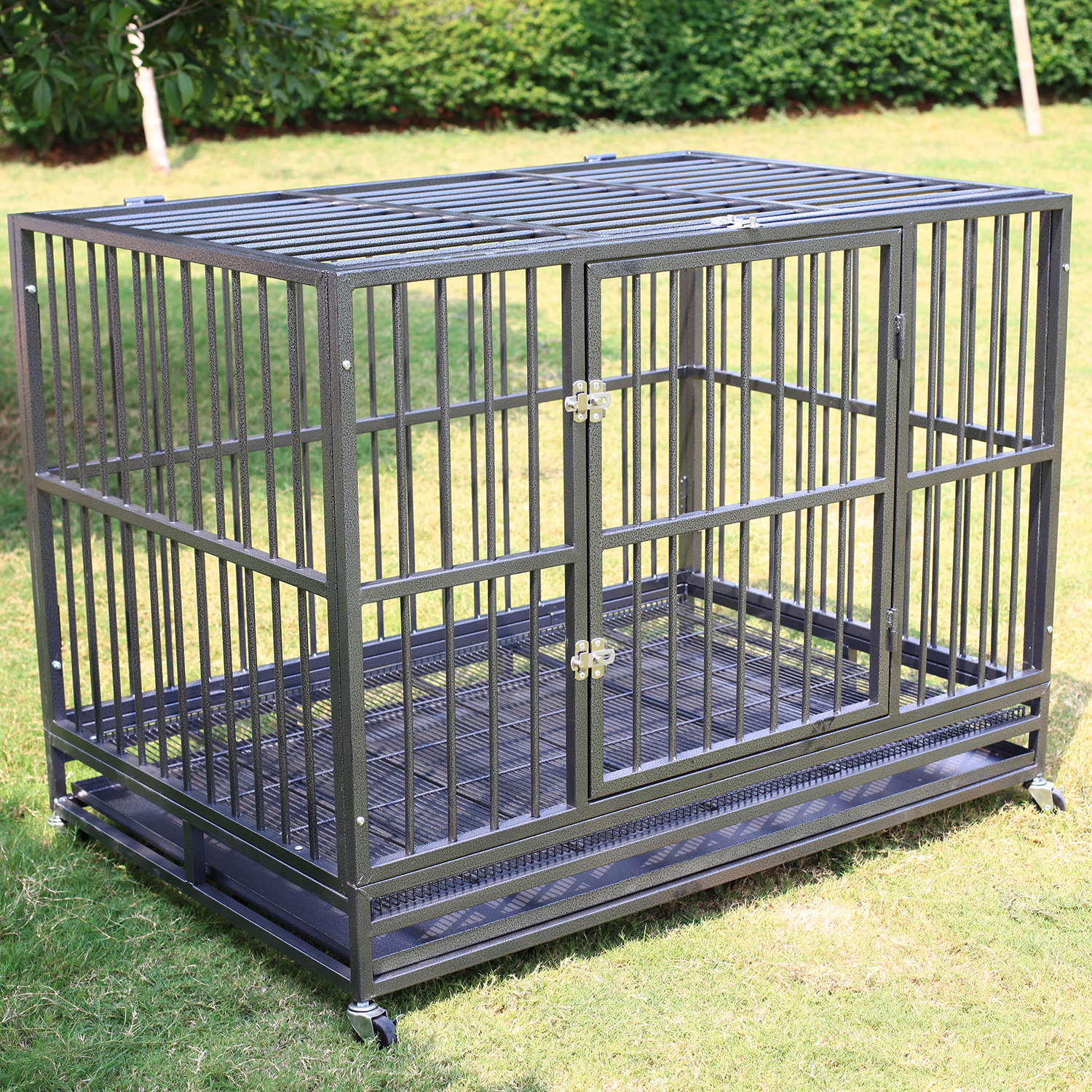 """37""""/42''/48"""" Heavy Duty Dog Cage Crate Kennel Metal Pet P..."""