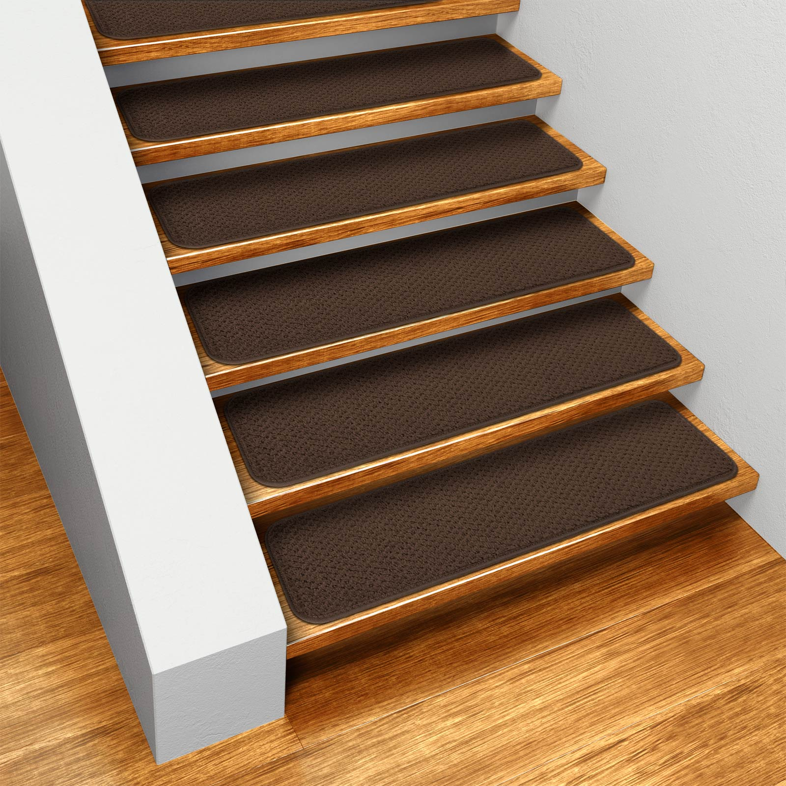 Set Of 12 Skid Resistant Carpet Stair Treads   Chocolate Brown   8 In.
