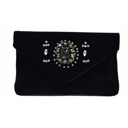 Lenore by La Regale Bow Accent Velvet Envelope Clutch Blue Navy