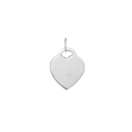 Engravable Heart Tag Pendant Charm Sterling Silver