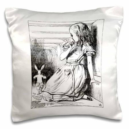 3dRose Follow the white rabbit. Alice in Wonderland John Tenniel illustration - Pillow Case, 16 by