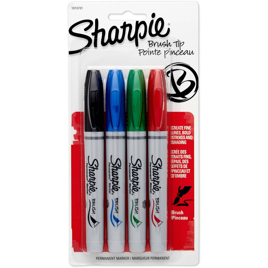 Sharpie Permanent Marker, Brush Tip, Assorted, 4pk
