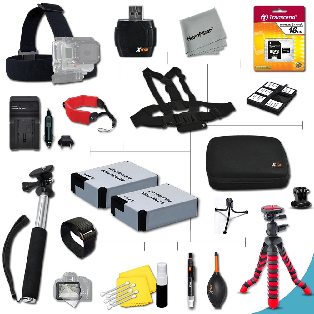 Xtech® Deluxe 23 Piece Accessory Kit for GoPro HERO3 Hero 3, GoPro Hero3+, GoPro Hero2, GoPro HD Motorsports HERO, GoPro Surf Hero, GoPro Hero Naked, GoPro Hero 960, GoPro Hero HD 1080p, GoPro Hero2 O