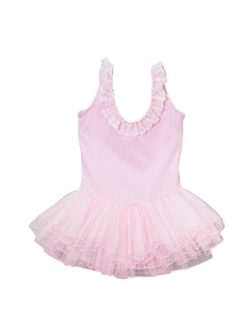 Girls Pink Ruffle Detail Lace Skirted Dance Leotard 12M-10